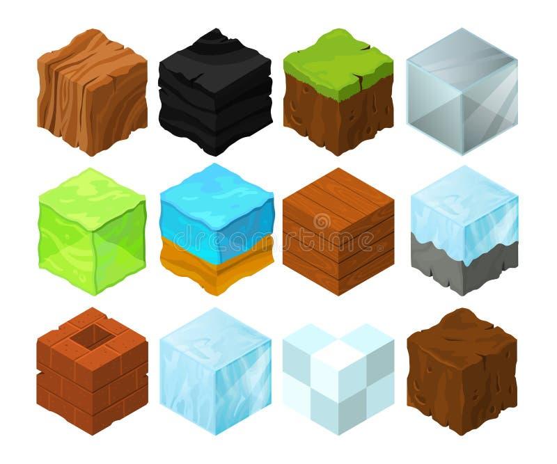 Karikaturbeschaffenheitsillustration auf verschiedenen isometrischen Blöcken für Spieldesign stock abbildung