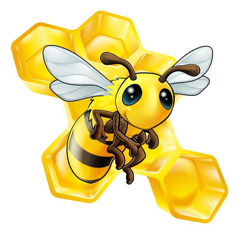 Karikaturbiene mit Bienenwabe vektor abbildung