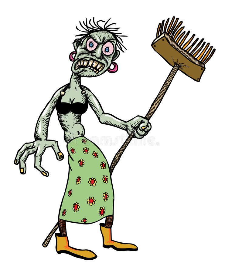 Karikaturbild von Undeadmonster-Damenreinigung stock abbildung