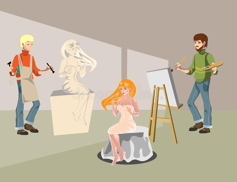 Karikaturbildhauer und Malereikünstler lizenzfreie abbildung