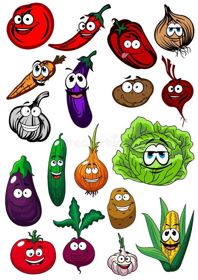 Karikaturbiohof-Gemüsecharaktere stock abbildung