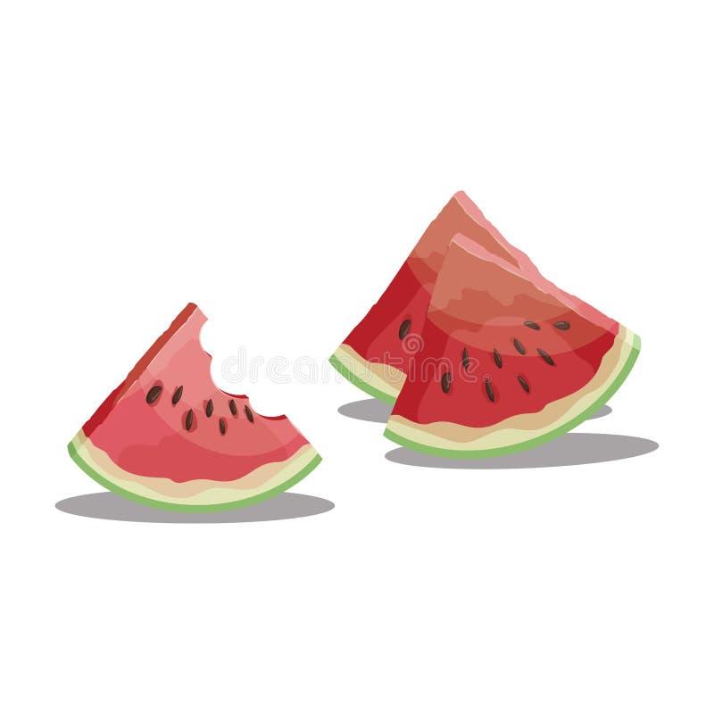 Karikaturbiss ein Stück der Wassermelone Scheibe der Wassermelone Süße und saftige Frucht Frische Sommervitamine Illustration für lizenzfreie abbildung