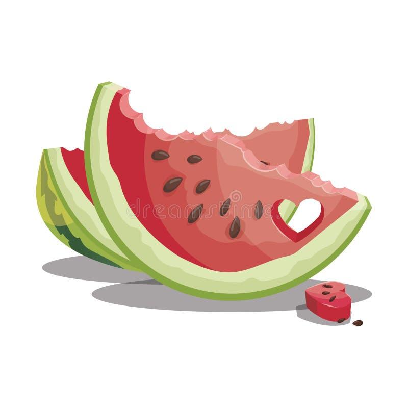 Karikaturbiss ein Stück der Wassermelone Scheibe der Wassermelone Süße und saftige Frucht Frische Sommervitamine Illustration für stock abbildung