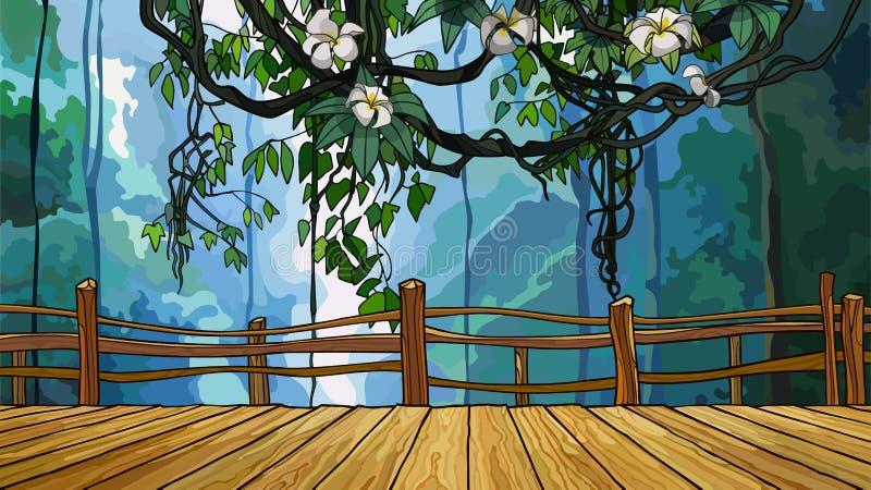 Karikaturbrücke auf dem Hintergrund des dichten Dschungels mit Niederlassungen von Reben lizenzfreie abbildung