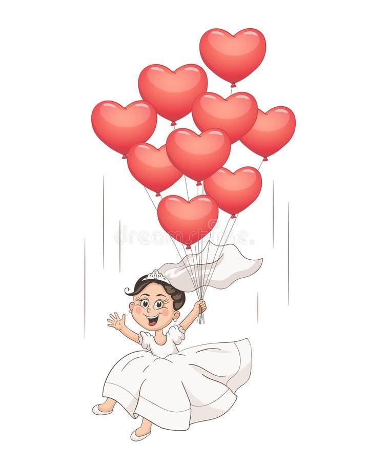 Karikaturbraut mit Ballonen lizenzfreie abbildung