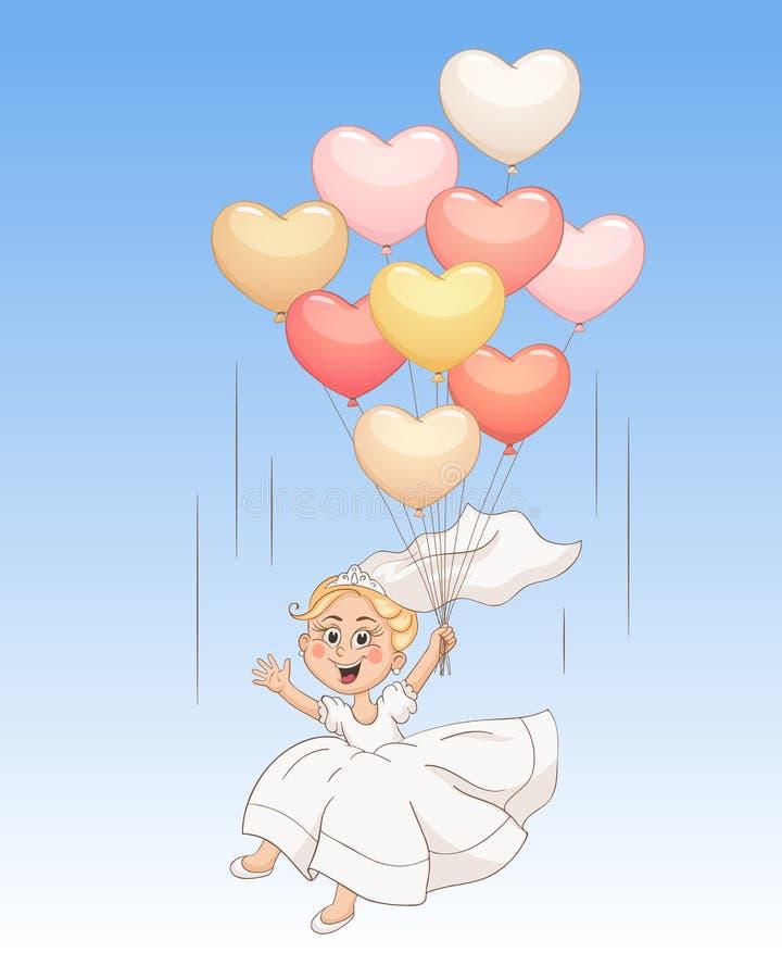 Karikaturbraut mit Ballonen stock abbildung