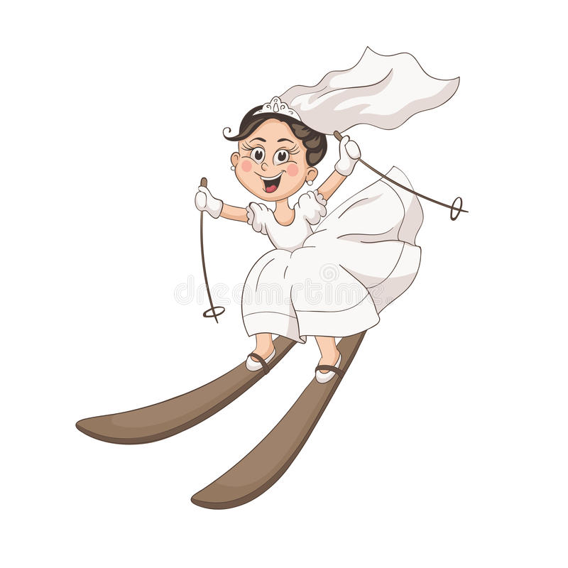 Karikaturbraut und -bräutigam lizenzfreie abbildung
