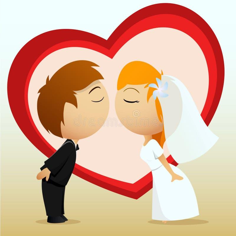 Karikaturbraut- und -bräutigamkuß lizenzfreie abbildung