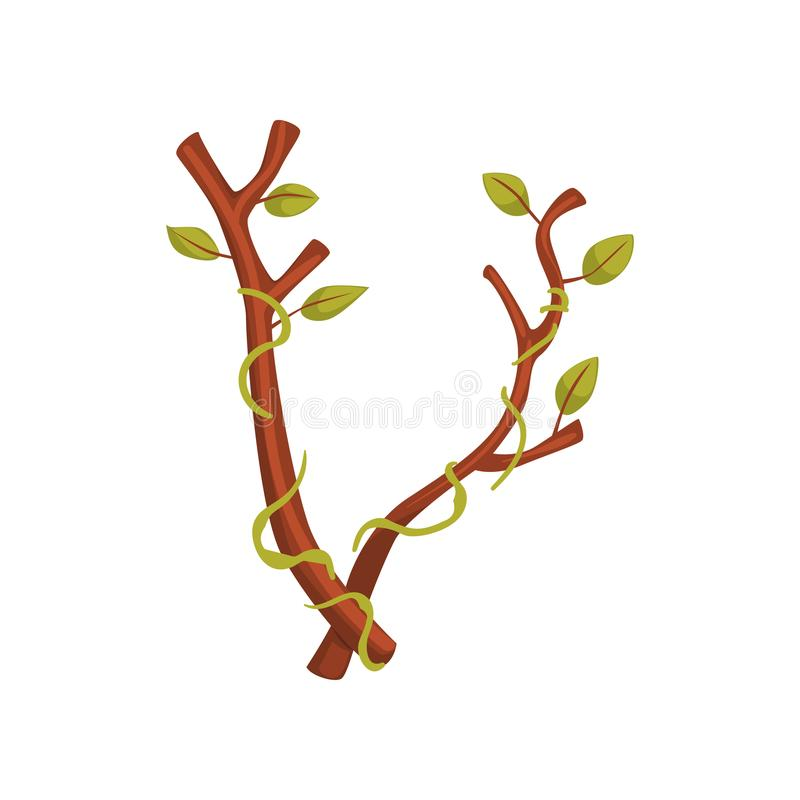 Karikaturbuchstabe V in der Form des Baumasts mit grünen Blättern vektor abbildung