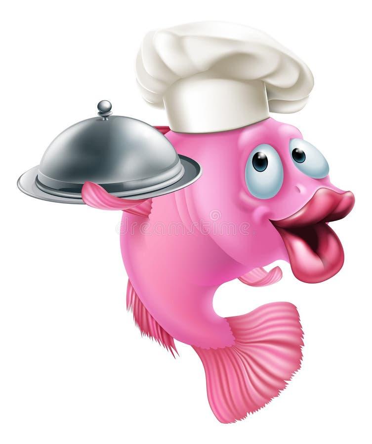 Karikaturchef-Fischmaskottchen lizenzfreie abbildung