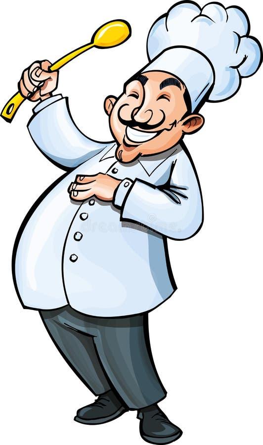 Karikaturchef mit einem Schöpflöffel stock abbildung