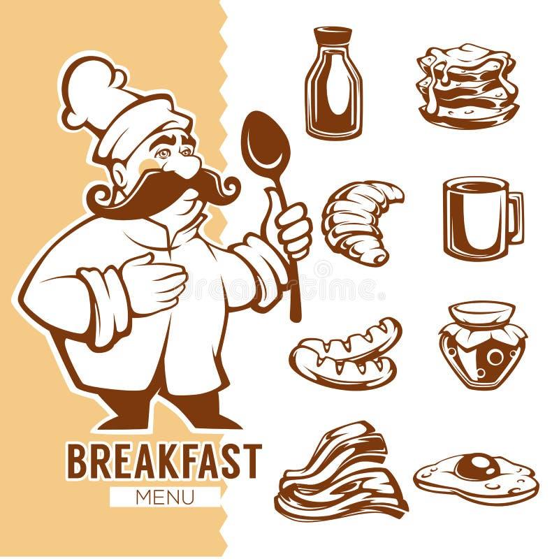 Karikaturchef- und -Frühstücksnahrungsmenü, lineare Gegenstandsammlung vektor abbildung