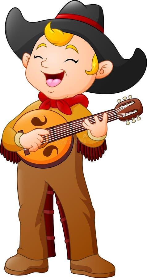 Karikaturcowboy, der Gitarre spielt vektor abbildung