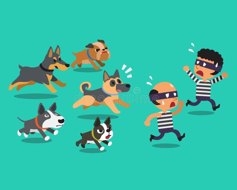 Karikaturdiebe und Schutzhunde stock abbildung