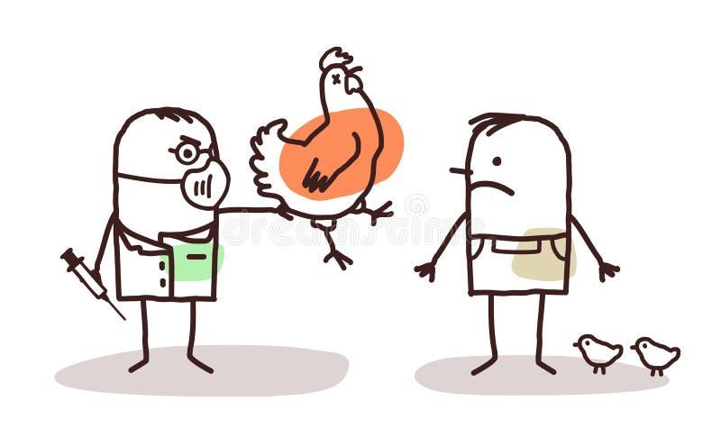 Karikaturdoktor und -landwirt mit krankem Huhn stock abbildung