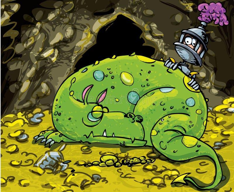 Karikaturdrache, der auf einem Stapel des Goldes schläft stock abbildung