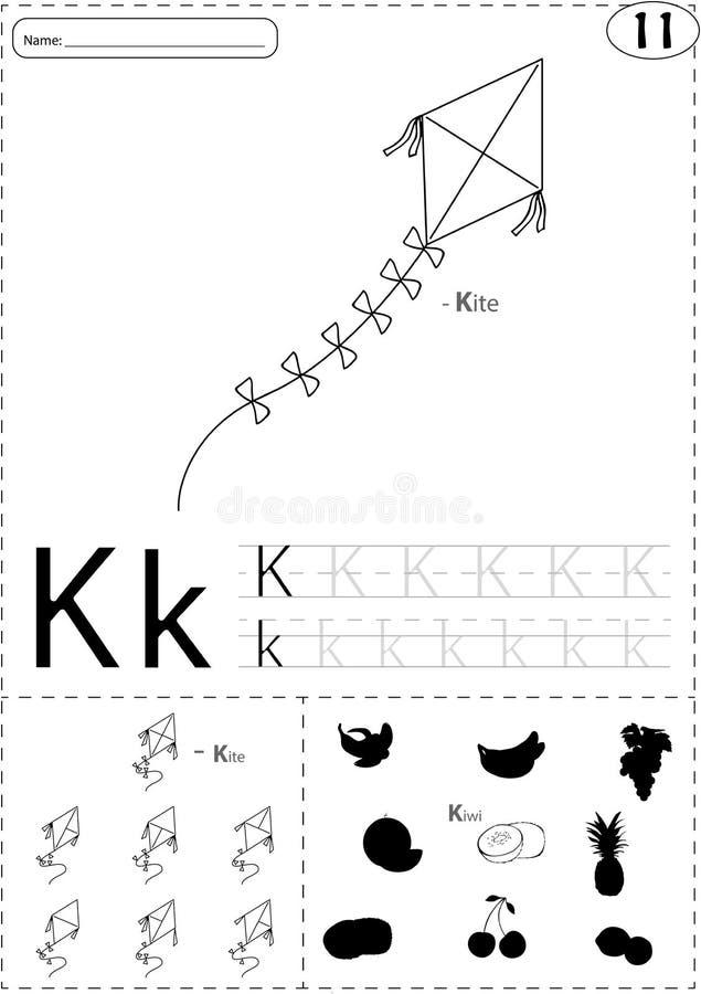 Karikaturdrachen und -kiwi Spurarbeitsblatt des Alphabetes: Schreiben A-Z a lizenzfreie abbildung