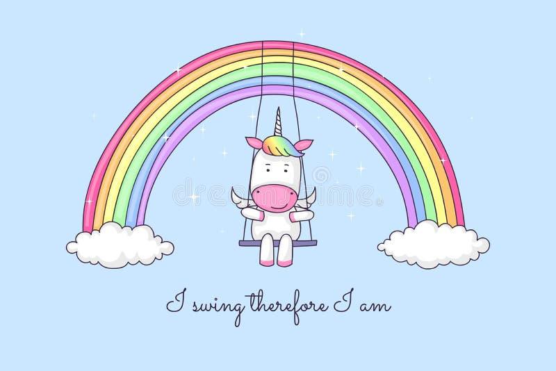 Karikatureinhorn, das auf einem Regenbogen schwingt stock abbildung