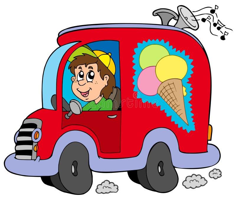 KarikaturEiscrememann im Auto stock abbildung