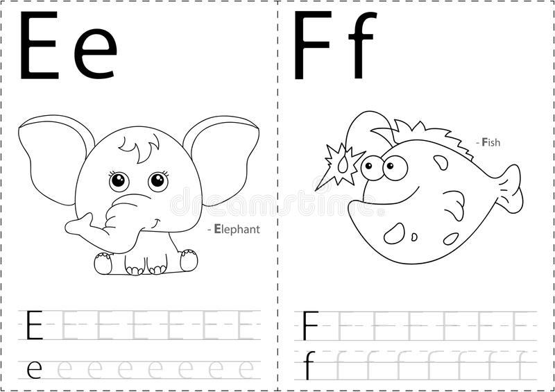 Karikaturelefant und -fische Spurarbeitsblatt des Alphabetes: Schreiben von A stock abbildung