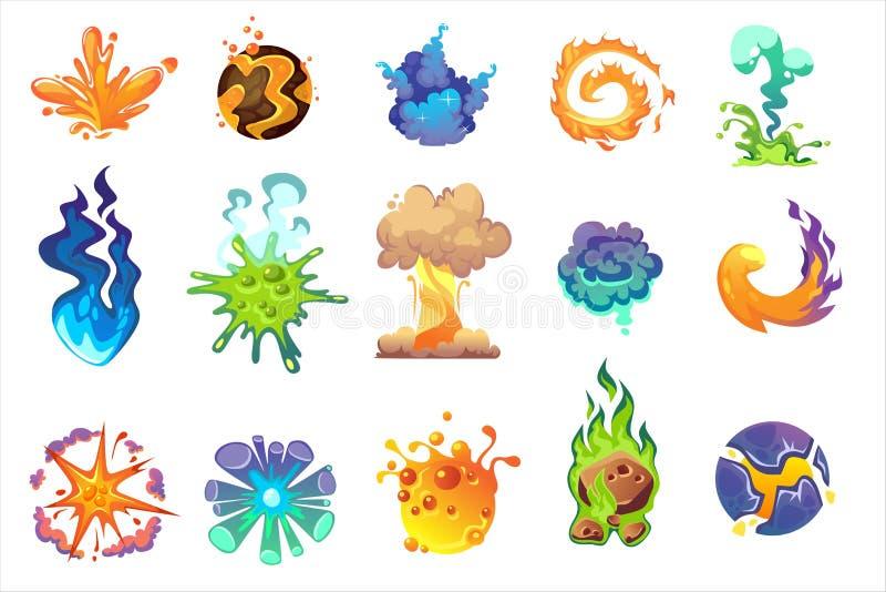 Karikaturexplosionsikone eingestellt auf weißen Hintergrund Vektor-Boomeffekt-Vektorelemente für Spielentwurf, Illustrationen usw stock abbildung