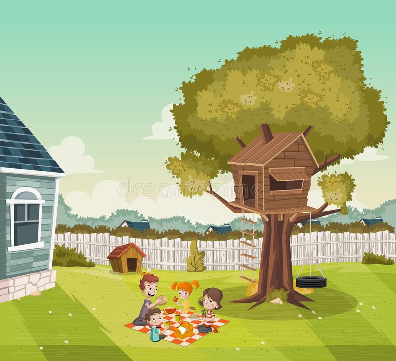 Karikaturfamilie, die Picknick auf dem Hinterhof eines bunten Hauses in der Vorortnachbarschaft hat Baumhaus auf dem Hinterhof stock abbildung