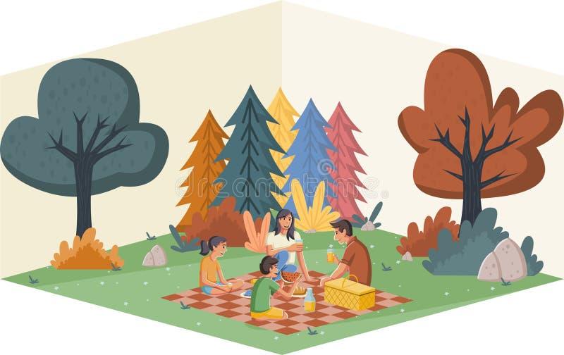 Karikaturfamilie, die Picknick im Park an einem sonnigen Tag hat stock abbildung