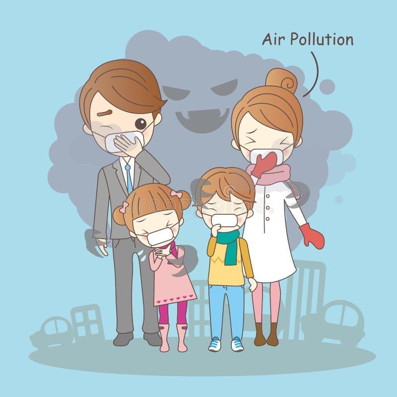 Karikaturfamilie mit Luftverschmutzung vektor abbildung