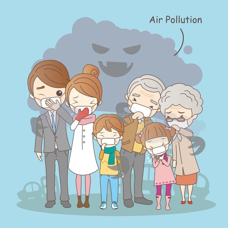 Karikaturfamilie mit Luftverschmutzung lizenzfreie abbildung
