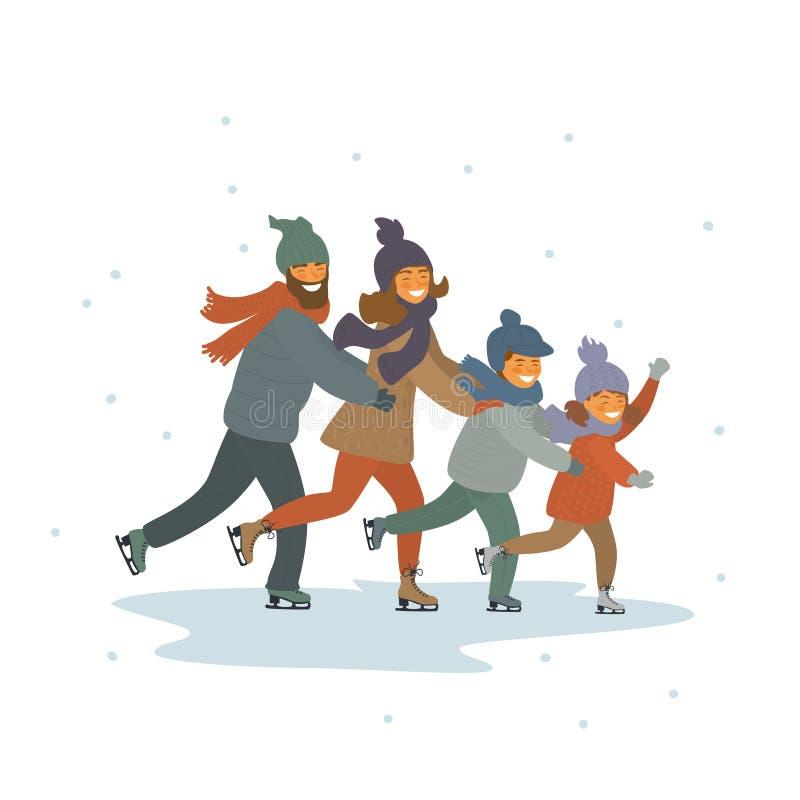 Karikaturfamilien-, -kinder- und -elterneiskunstlauf zusammen auf Eisbahn lokalisierte Vektorillustrationsszene lizenzfreie abbildung