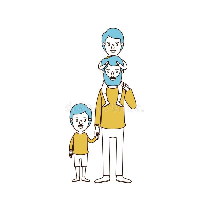 Karikaturfarbabschnitte und blaues Haar des bärtigen Vaters mit Jungen auf seiner Rückseite und Kind genommenen Händen stock abbildung