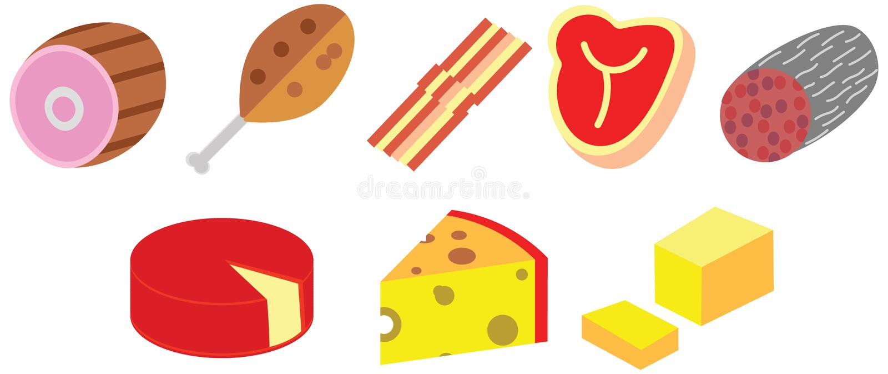 Karikaturfarbe kritzelt flachen Fleischkäse essen Nahrungsmittelsatzsatz stock abbildung
