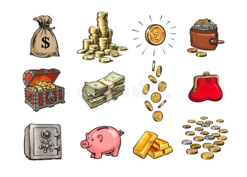 Karikaturfinanzgeldsatz Sack Dollar, Stapel Münzen, Münze mit Dollarzeichen, Schatztruhe, Stapel Rechnungen vektor abbildung
