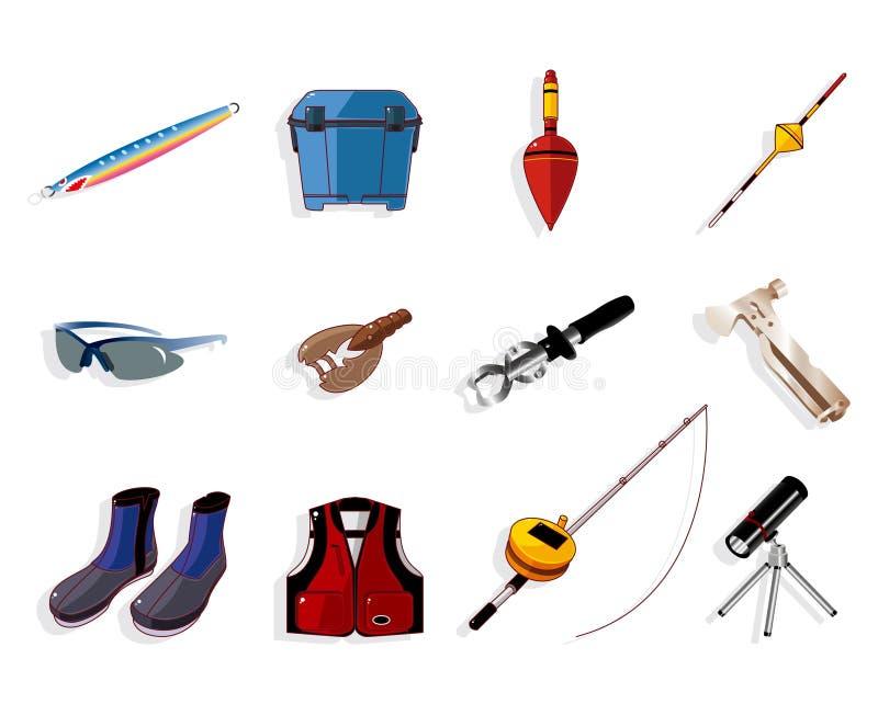 Karikaturfischereiausrüstungs-Hilfsmittelikonenset, lizenzfreie abbildung