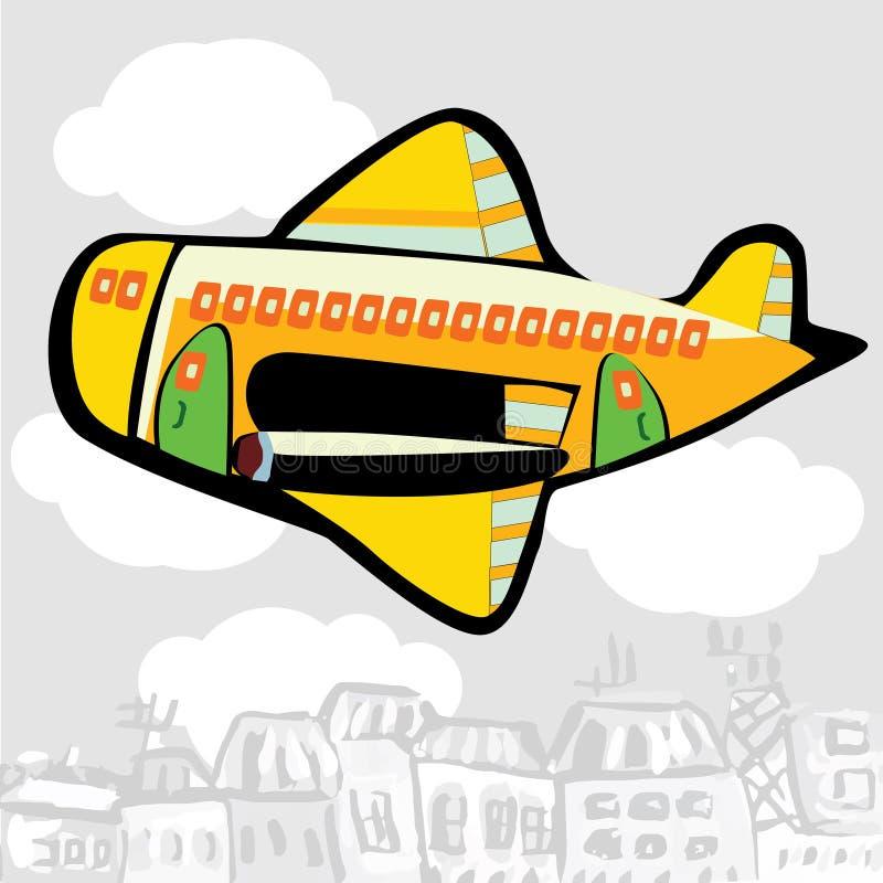 Karikaturflugzeug, das über die Stadt fliegt lizenzfreie abbildung