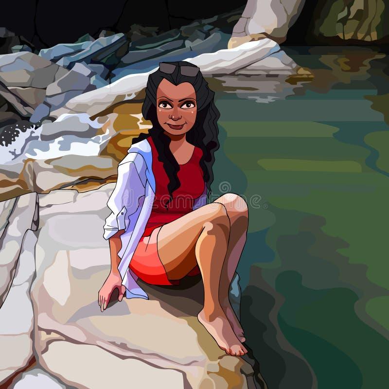 Karikaturfrau, die auf einem Felsen durch den Fluss in den Tropen sitzt vektor abbildung
