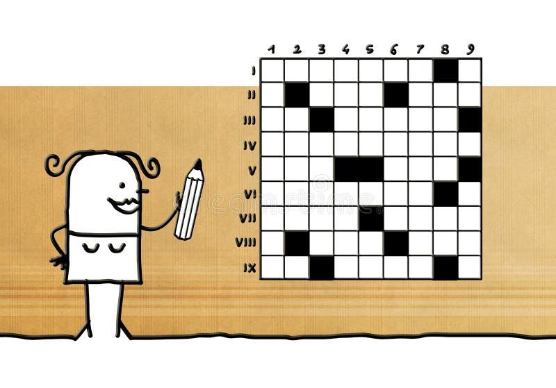 Karikaturfrau, die mit Kreuzworträtseln spielt stock abbildung