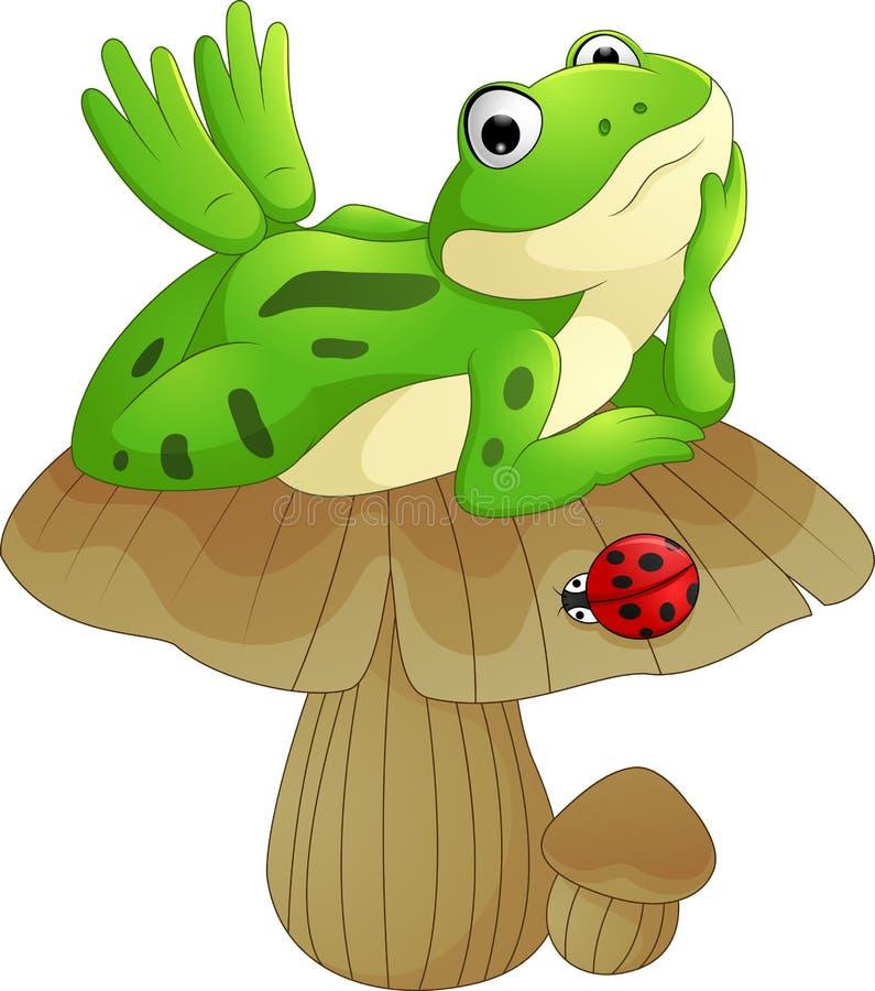 Karikaturfrosch, der auf dem Pilz niederlegt stock abbildung