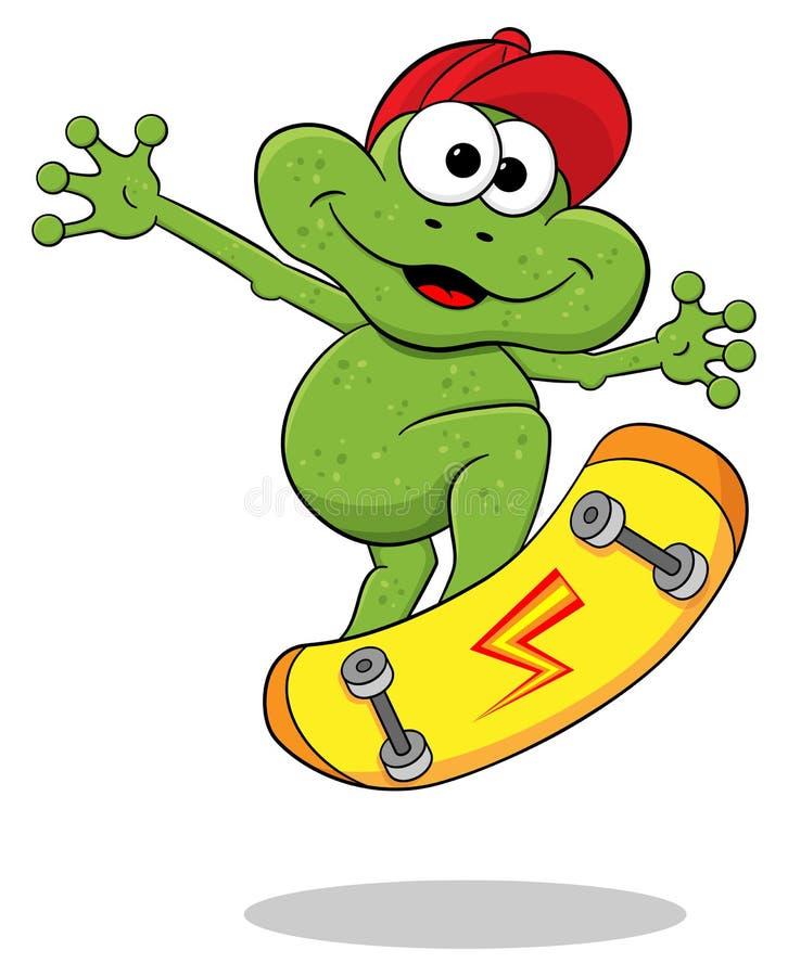 Karikaturfrosch springt mit einem Skateboard stock abbildung