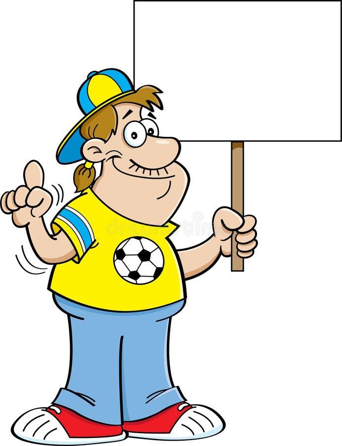 Karikaturfußballfan, der ein Zeichen hält lizenzfreie abbildung