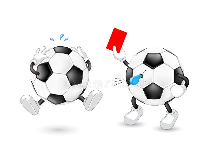 Karikaturfußballreferent, der rote Karte gibt vektor abbildung