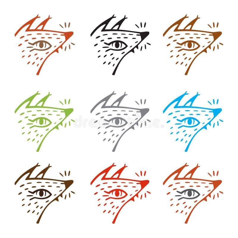 Karikaturfuchs in einem Waldikonensatz, Vektor lasercut Schablone Zeile Kunstabbildung Waldtier vektor abbildung