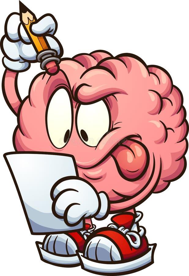 Karikaturgehirn, das ein Blatt Papier und das Denken betrachtet lizenzfreie abbildung