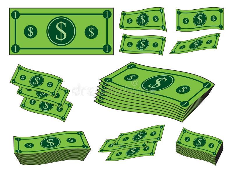 Karikaturgeldsatz, Dollarbanknote, Papierrechnung Vektorabbildung getrennt auf weißem Hintergrund stock abbildung