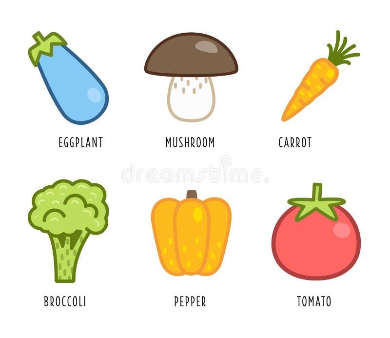 Karikaturgemüse und -früchte lizenzfreie abbildung
