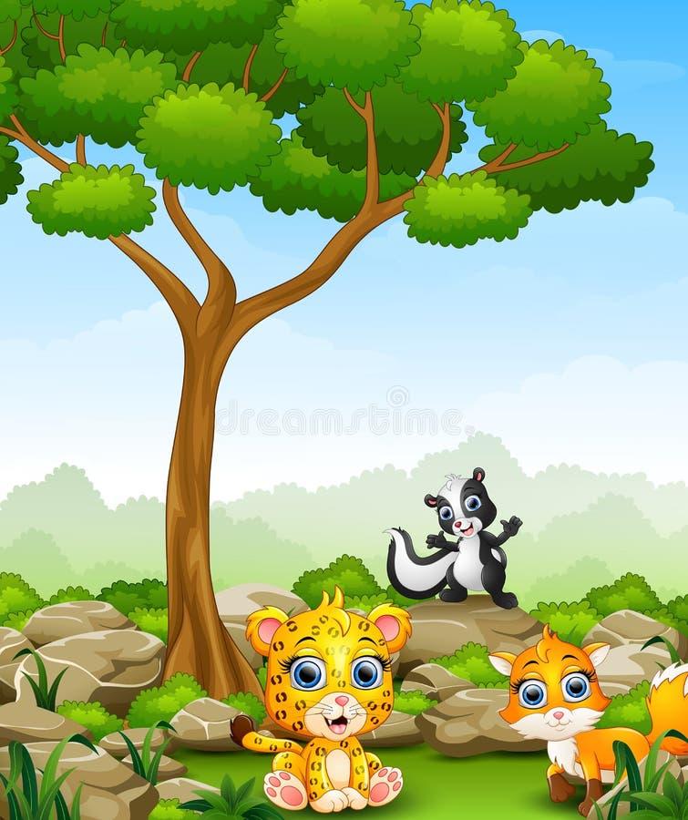 Karikaturgepard mit Stinktier und Fuchs im Dschungel vektor abbildung