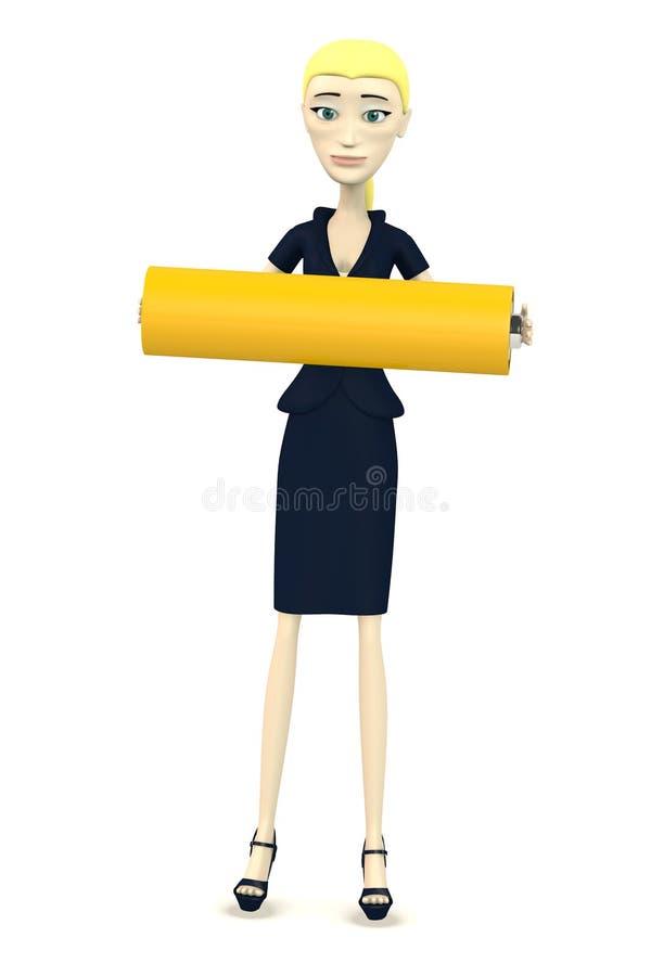 Karikaturgeschäftsfrau mit Batterie stock abbildung