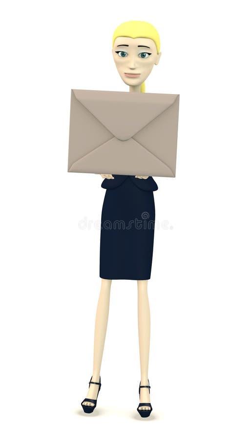 Karikaturgeschäftsfrau mit Umschlag stock abbildung