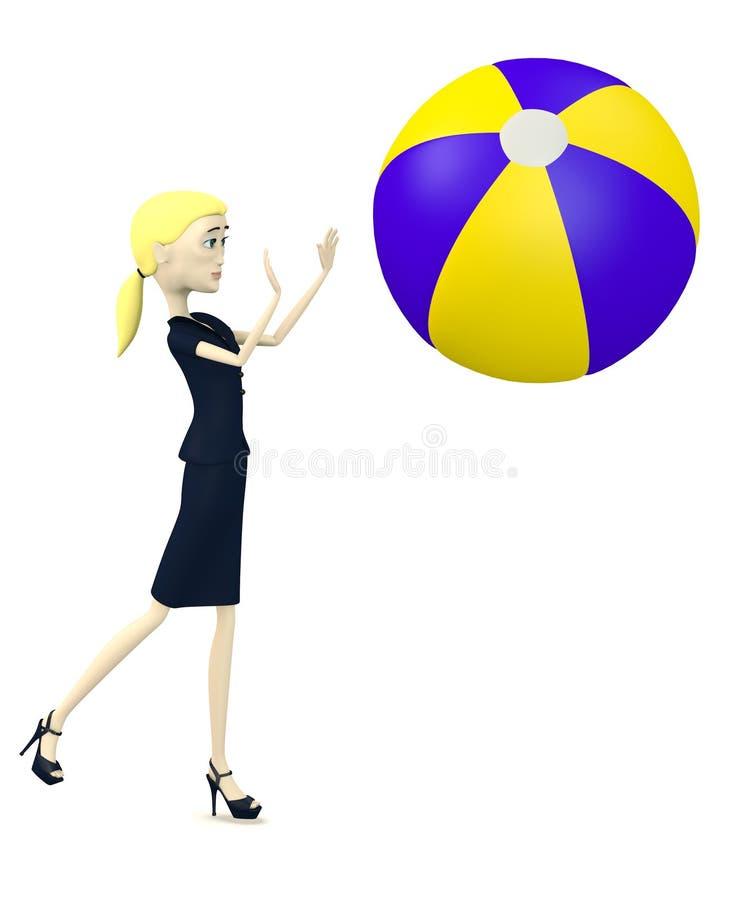 Karikaturgeschäftsfrau mit Wasserball vektor abbildung