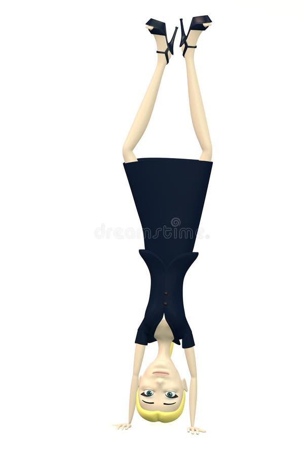 Karikaturgeschäftsfrau - stehend auf Kopf lizenzfreie abbildung